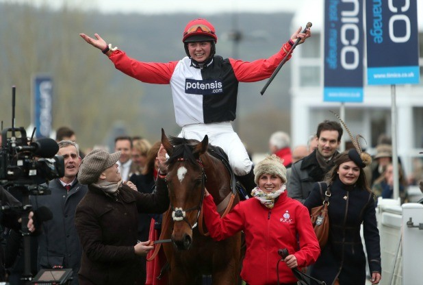 Briony Frost after winning the Foxhunter hunter chase